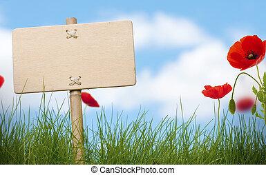 signe, coquelicots, texte, ciel bleu, herbe, bois, fleurs, vert, nuages, vide, salle, brouillé