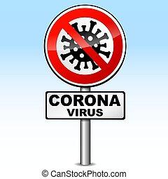 signe, couronne, vecteur, virus, route