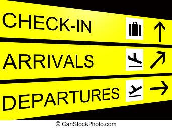 signe, départ, aéroport, chèque, arrivées