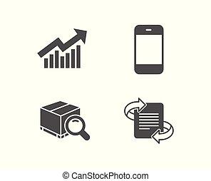 signe., demande, icons., smartphone, courbe, commercialisation, recherche, paquet