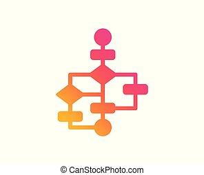 signe., diagramme, vecteur, sentier, icon., plan, bloc