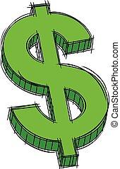signe dollar, griffonnage, vert