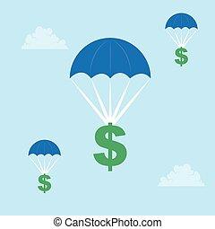 signe dollar, parachutage