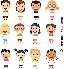 signe, enfants, dessin animé, vide