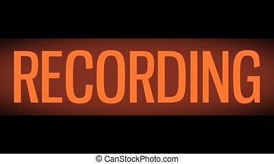 signe, enregistrement, retro, clignotant