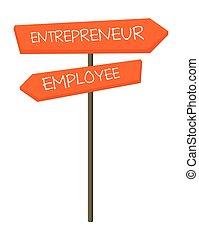 signe, entrepreneur, vecteur, employé, dessin animé, route