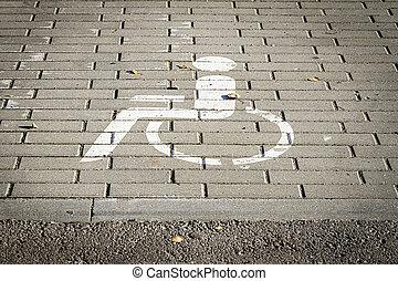 signe, fin, handicapé, haut, route