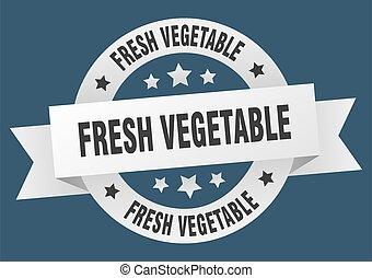 signe, frais, ruban, label., légume, rond, isolé