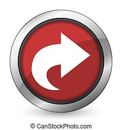 signe, icône, flèche rouge, suivant