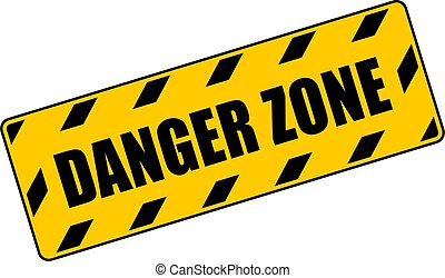 signe, jaune, danger, avertissement, zone
