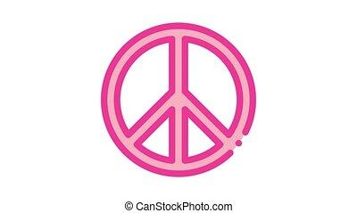 signe, liberté, icône, amour, lgbt, hippie, animation