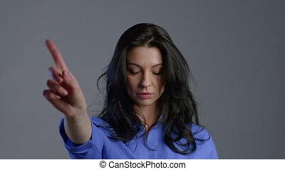 signe, mûrir, doigt, femme, lady., non, beau, désapprouver, gesture., négation, nier, ne pas être d'accord, rejeter, portrait, faire, adulte