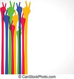 signe main, victoire, coloré, exposition