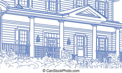 signe, maison, dessin, vente, panoramique