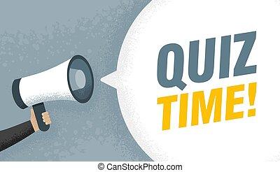 signe, megaphone., possession main, quiz., parole, vecteur, illustration, temps, texte