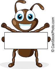 signe, mignon, brun, vide, fourmi
