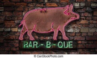 signe néon, barbecue, clignotant