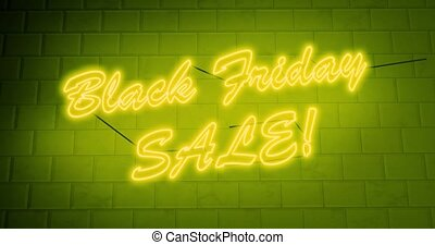 signe néon, vendredi, noir, escomptes, 4k, annonce, -, ventes, économies