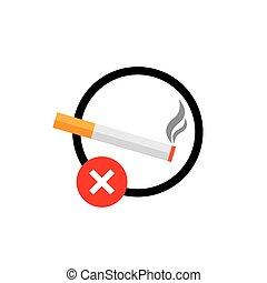 signe, non, interdit, isolé, icône, signe., fumer