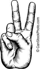 signe paix, victoire, v, main, ou, salut