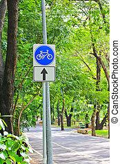 signe, parc, couloir, vélo