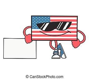 signe, penchant, drapeau, américain, dessin animé, lunettes soleil