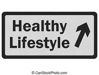 signe, photo, lifestyle', isolé, réaliste, blanc, 'healthy