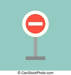 signe, plat, interdit, arrêt, icône