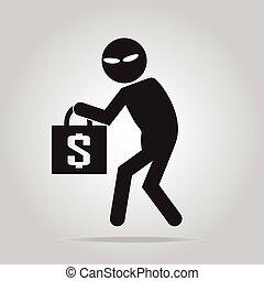 signe, prendre garde, pickpocket, voleur, illustration, icône