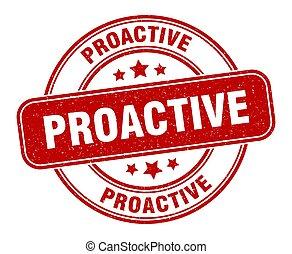 signe, proactive, grunge, label., rond, stamp.