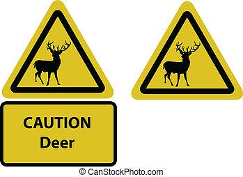 signe prudence, jaune, cerf
