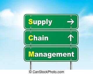 signe, route, chaîne, gestion, 3d, fourniture