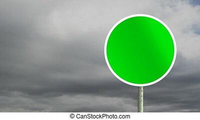 signe, route, ciel, arrière-plan animation, rond