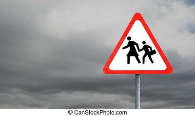 signe, route, ciel, arrière-plan animation, triangle