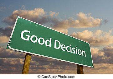 signe, route, décision, vert, bon