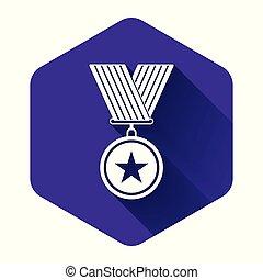 signe., shadow., gagnant, accomplissement, étoile, hexagone, illustration, icône, pourpre, long, medal., button., isolé, vecteur, récompense, médaille, blanc