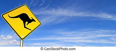 signe, sur, route, ciel, panorama