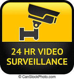 signe, surveillance vidéo, cctv, étiquette