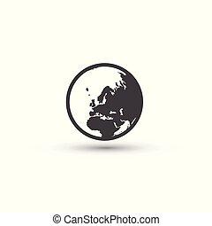 signe., symbole., terre planète, mondiale, icon.