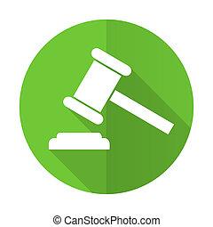 signe, symbole, tribunal, icône, verdict, vert, plat, enchère