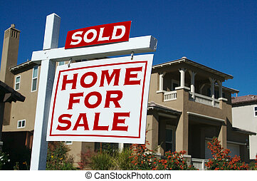 signe vendu, maison, vente