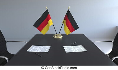 signer, agreement., animation, drapeaux, papiers, conceptuel, allemagne, table., négociations, 3d