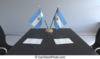 signer, agreement., animation, drapeaux, papiers, conceptuel, argentine, table., négociations, 3d