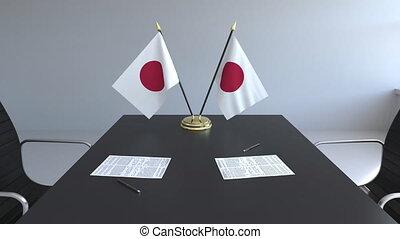 signer, agreement., animation, drapeaux, papiers, conceptuel, japon, table., négociations, 3d