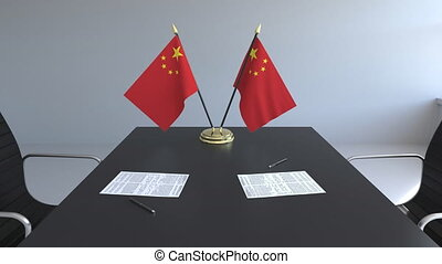 signer, agreement., animation, drapeaux, papiers, conceptuel, porcelaine, table., négociations, 3d