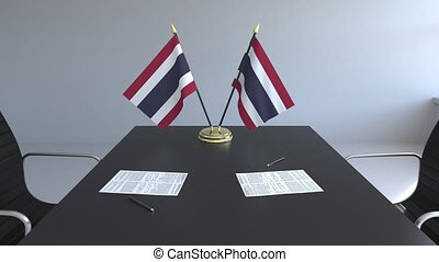 signer, agreement., animation, drapeaux, papiers, conceptuel, thaïlande, table., négociations, 3d