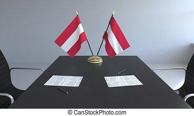 signer, agreement., autriche, animation, drapeaux, papiers, conceptuel, table., négociations, 3d