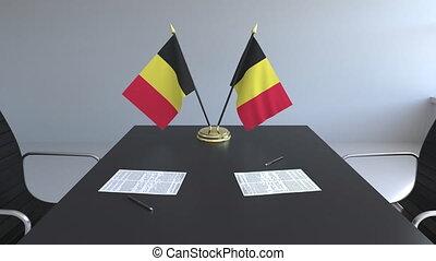 signer, agreement., belgique, animation, drapeaux, papiers, conceptuel, table., négociations, 3d