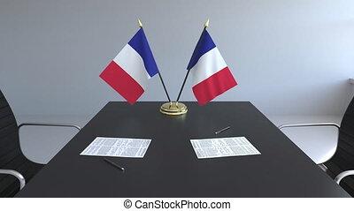 signer, agreement., france, animation, drapeaux, papiers, conceptuel, table., négociations, 3d