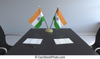 signer, agreement., inde, animation, drapeaux, papiers, conceptuel, table., négociations, 3d